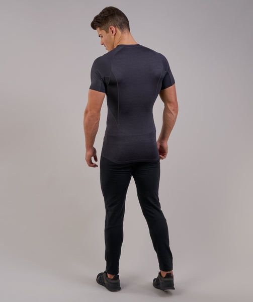 Gymshark Element Baselayer Short Sleeve Top - Black Marl 1