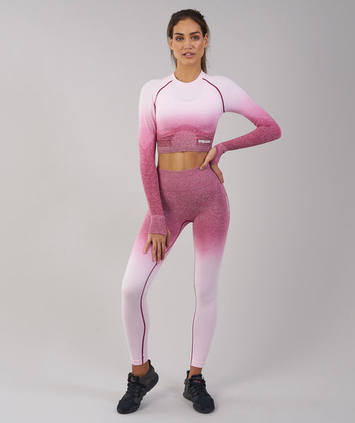 Gymshark Ombre Seamless Crop Top - Chalk Pink/Beet 4