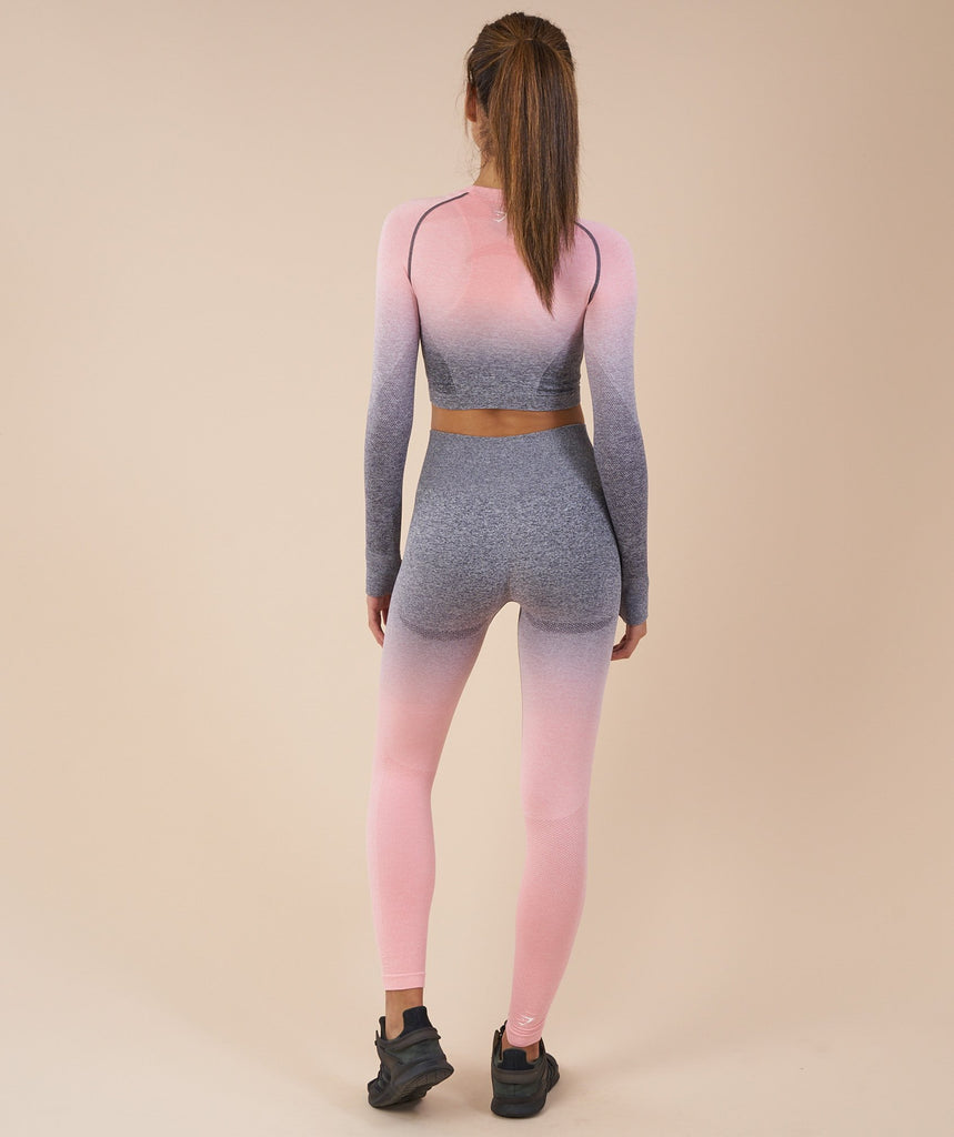 Gymshark Ombre Seamless Crop Top - Peach Pink/Charcoal 2