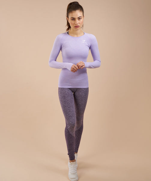 Gymshark Seamless Long Sleeve Top - Soft Lilac Marl 1