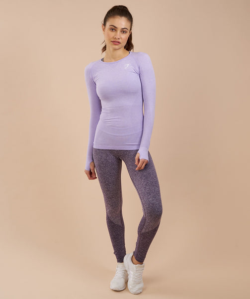 Gymshark Seamless Long Sleeve Top - Soft Lilac Marl 4