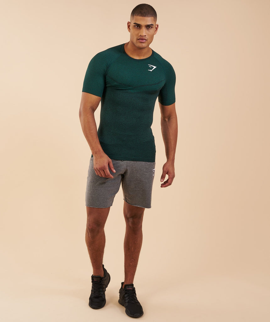 Gymshark Performance Seamless T-Shirt - Forest Green Marl 1