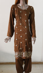 Dark Brown Embroidery Plus Size Salwar Kameez 428