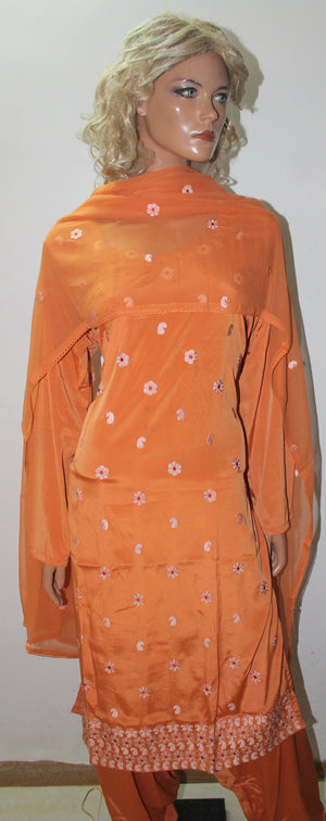 Orange  Indian Wedding party Formal Salwar kameez Dress Plus Size 48