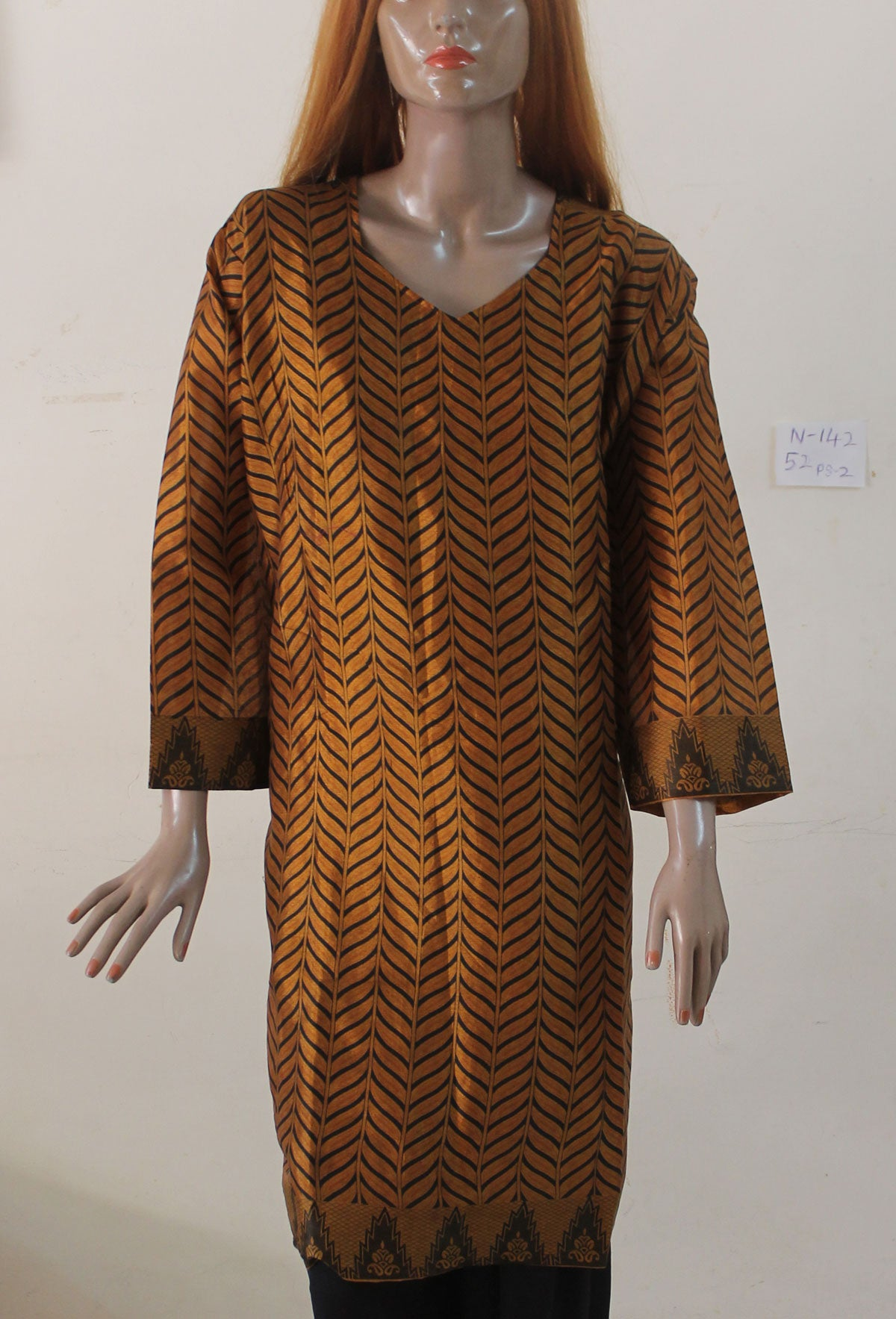 Brown Silk Indian Clothing Women kurta tunic Dress Free Dupatta Plus Size 52