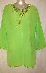 Green Beaded Indian Long Kurta