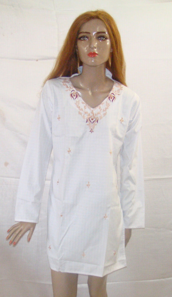 White Cotton Indian Long Kurta