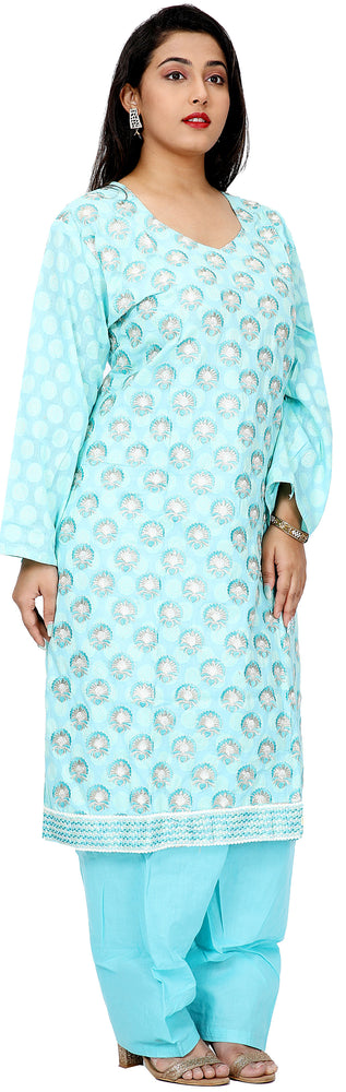 Blue  Embroidered  Cotton Salwar kameez Dress Plus  chest Size 52
