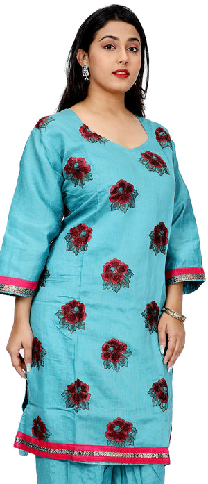 Load image into Gallery viewer, Blue Silk Embroidered  Salwar kameez Dress Plus Size 52
