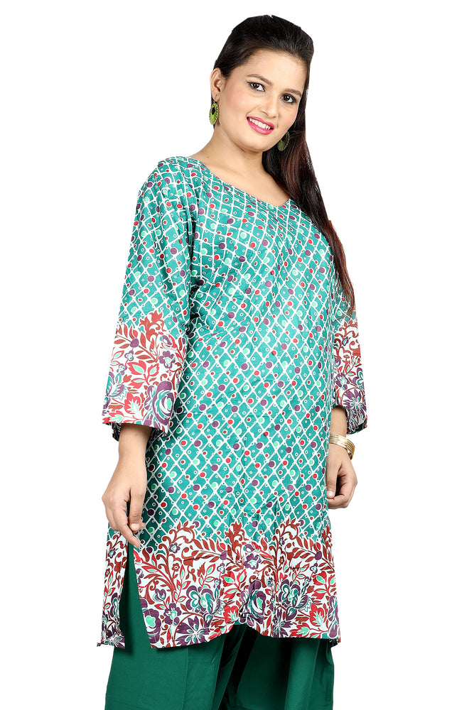 Load image into Gallery viewer, Green Cotton Salwar Kameez Dress Plus size 52