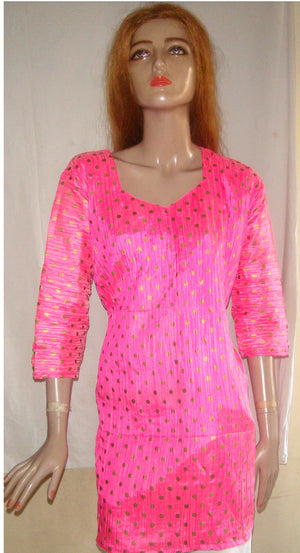 Hot Pink Indian Silk Kurta