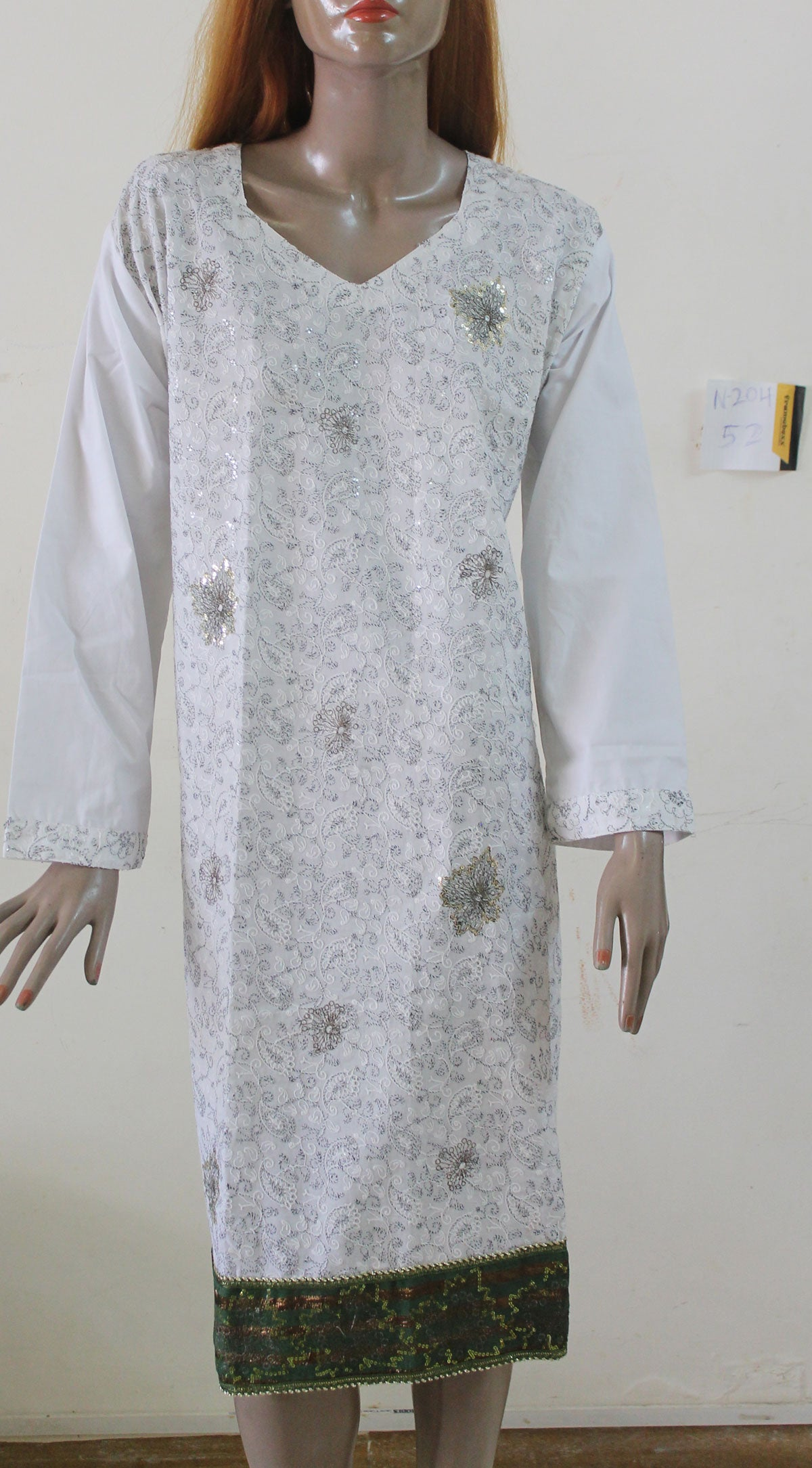 White N204 Cotton Indian Clothing Women kurta tunic Dress Free Dupatta Plus Size 52