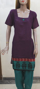 Purple Green Cotton Plus Size Salwar Kameez