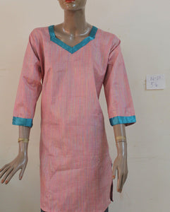 Pink N68 Cotton Indian Clothing Women Kurta Tunic Dress Free Dupatta Plus Size 54