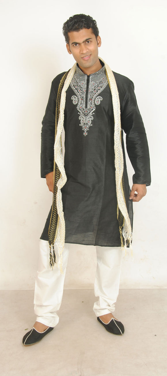 Black Beaded Mens Kurta Salwar With Shawl