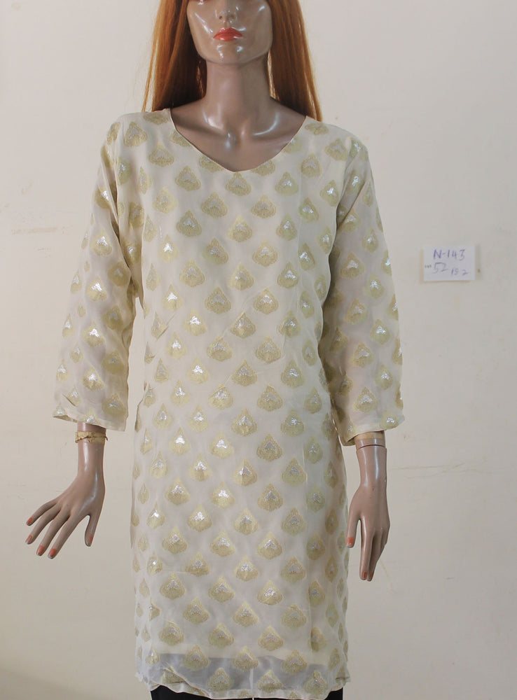 Cream N143 Indian Clothing Women Kurta Tunic Dress Free Dupatta Plus Size 52