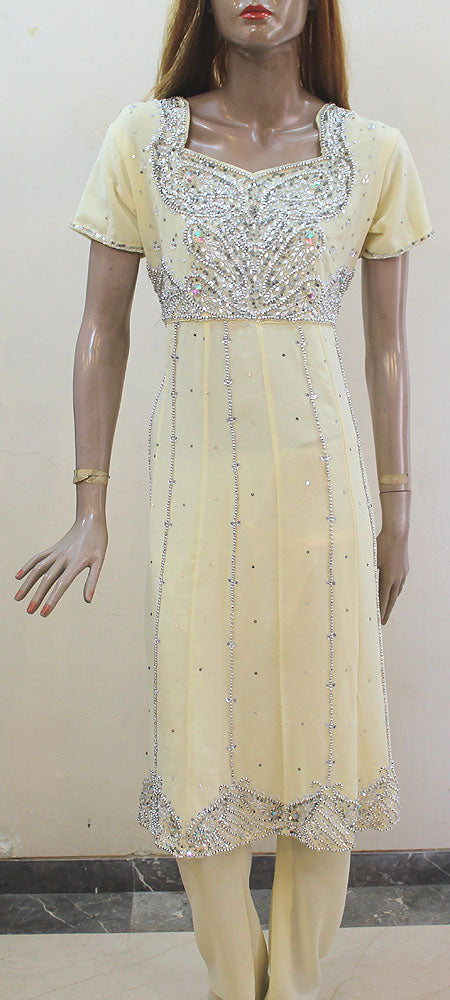 Cream Colored Anarkali Churidar