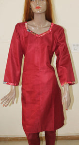 Red N132 Crepe Indian Clothing Women Kurta Tunic Dress Free Dupatta Chest Size 46