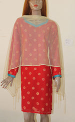 Red Gold Chiffon Indian Clothing Women kurta tunic Dress Free Dupatta Chest Size 52 N182