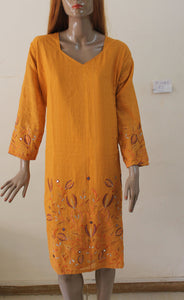 Yellow Cotton N145 Indian Clothing Women Kurta Tunic Dress Free Dupatta Plus Size 52