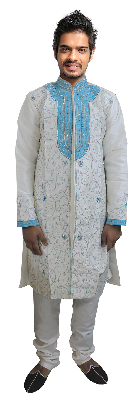 Apparelsonline White Men Sherwani Party Wedding Wear