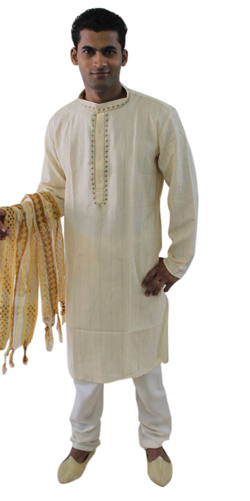 Cream  Mens Kurta Pants Free Shawl Festival New Arrivals