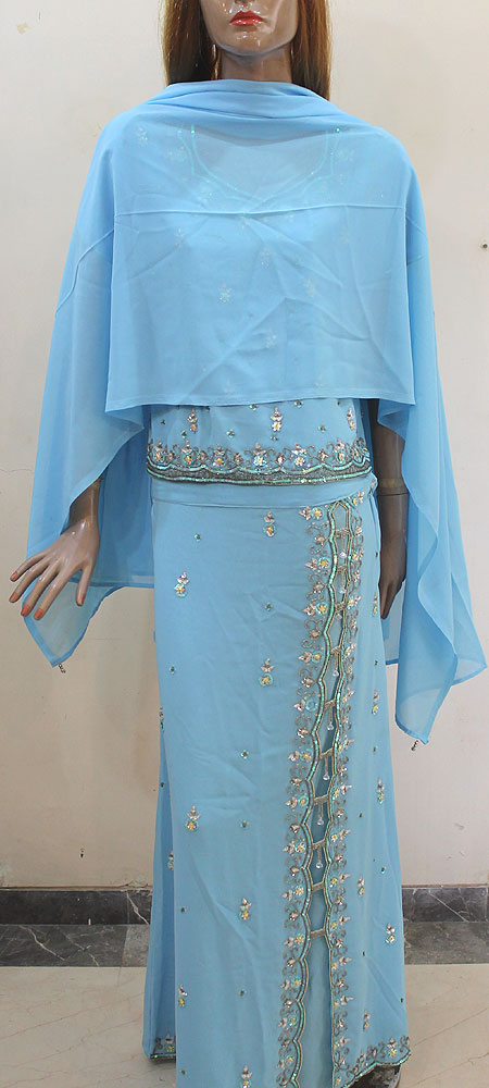 Light Sky Blue Sharara