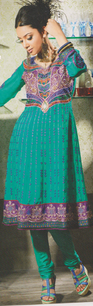 Mystic Beauty of Shades New Patterns Anarkali Churidar Size 40
