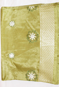 Golden Green Saree
