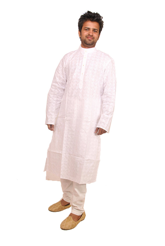 White Mens Cotton Kurta Payjama Salwar