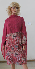 Pink N44 Crepe Indian Clothing Women Kurta Tunic Dress Free Dupatta Chest Size 52