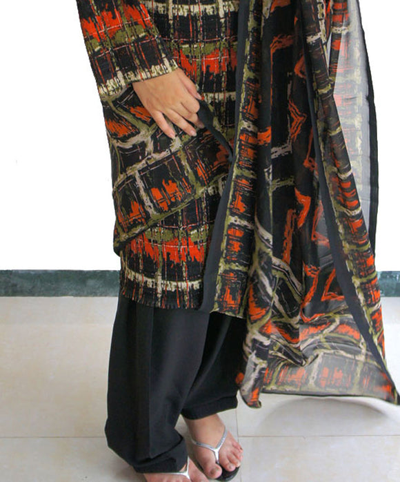 Black Indian Salwar match Kurta Mameez High Quality Crepe