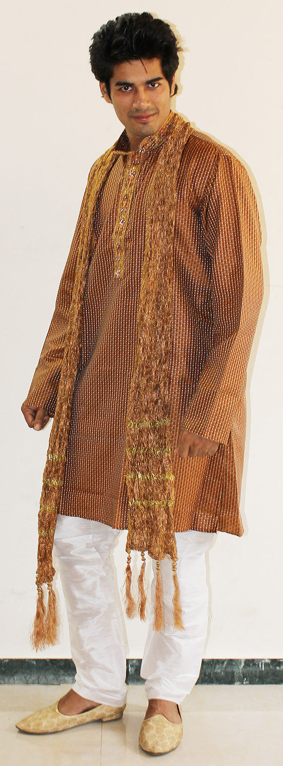 Brown Mens Kurta Salwar With Shawl