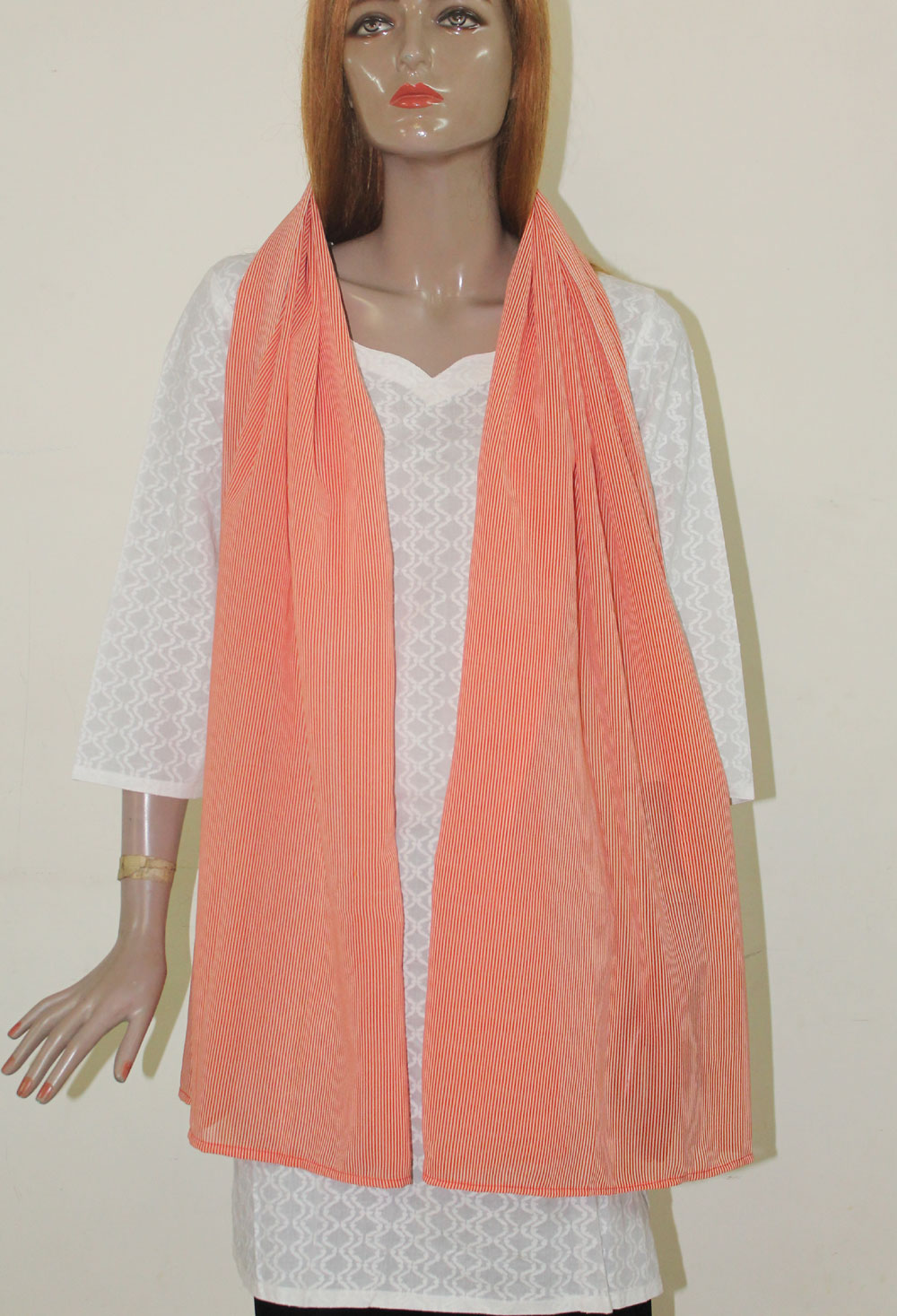 Peach Long shawl Dupatta Designer Long Stole Fashion Street Stole