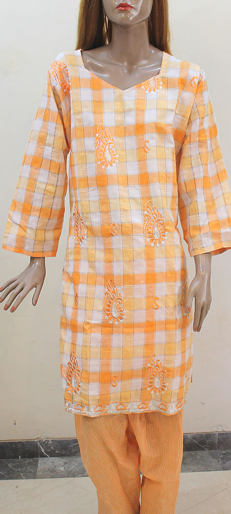 Orange South Cotton Plus Size Salwar Kameez