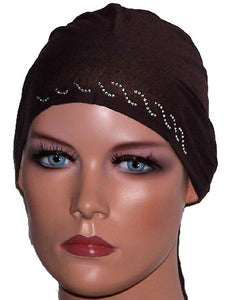Brown tie back Underscarf cap