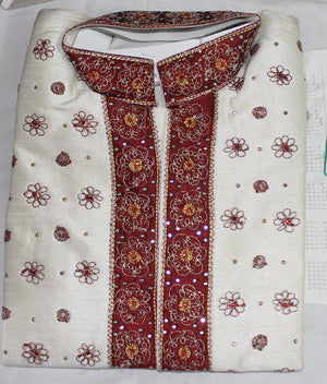 White Red Indian  Boys Kurta sherwani set Age 4