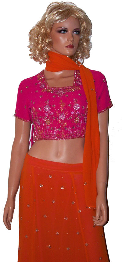 Orange Bollywood Lehenga Choli