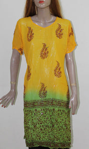 Yellow Green Georgette Women India Long ladies Kurta Top Chest size 44