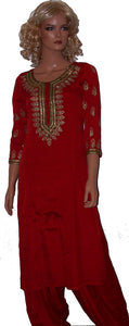 Red Beaded Salwar Kameez