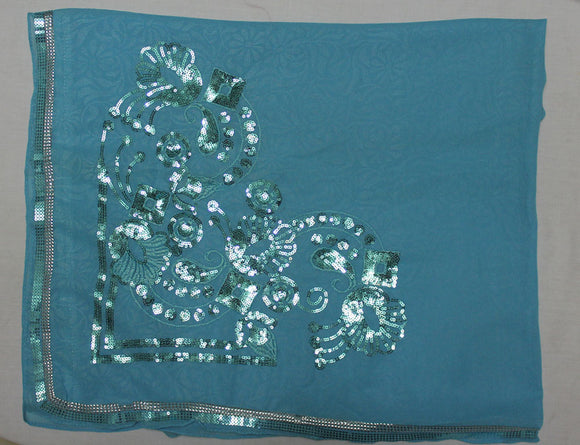 Blue Beaded Bridal Hijab Scarf Scarves