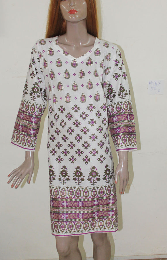 White N157 Indian Clothing Women Kurta Tunic Dress Free Dupatta Plus size 52