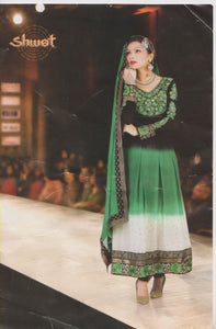 Green Black Designer Exclusive anarkali Churidar Indian Party Wedding Wear