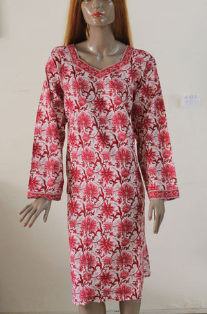 Pink N127 Cotton Indian Clothing Women Kurta Tunic Dress Free Dupatta Chest Size 52