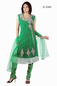 Green Net Anarkali Churidar