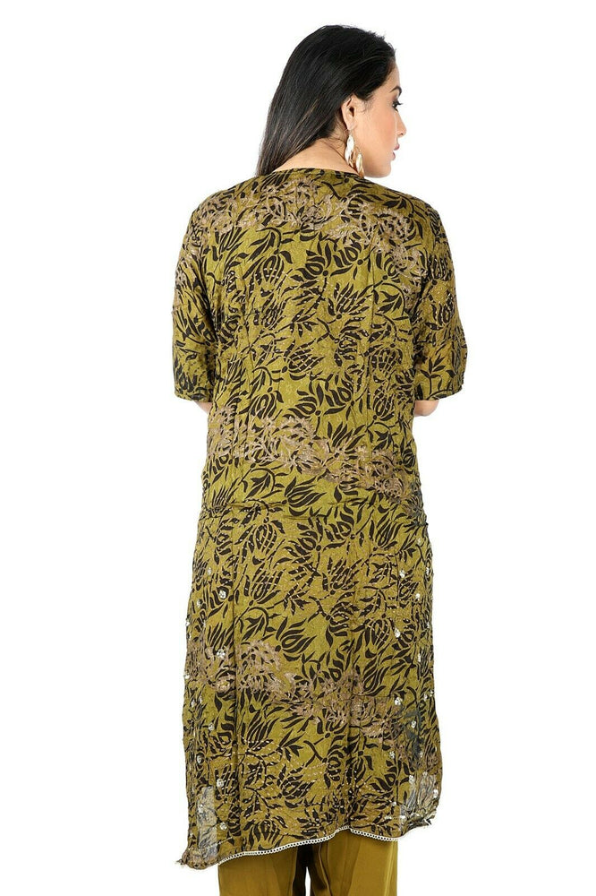 Load image into Gallery viewer, Olive Green Chiffon Designer Ethnic  Salwar kameez chest size 50