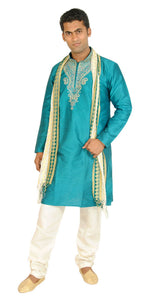 Teal silk Exclusive Formal Mens Kurta salwar w matching shawl Embroidery beads