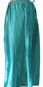 Blue Satin Indian saree Petticoat Underskirt belly dancing Lehanga slip