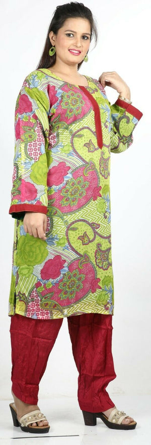 Green Floral Print Summer Salwar Kameez Plus chest 56 Full sleeve Fast ship New