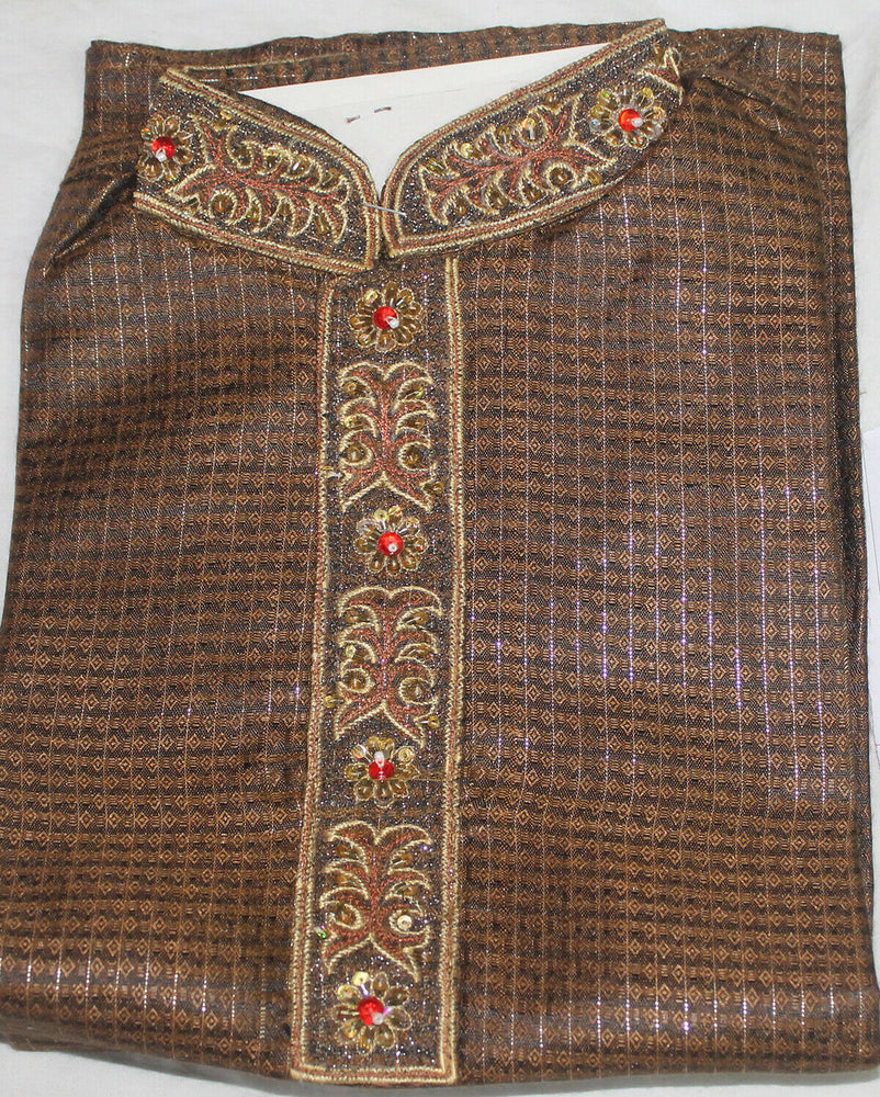 Brown   Embroidered   Bollywood Boys Children  kurta payjama  Size 3 Year old